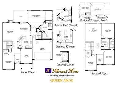 Queen anne monarch homes of north carolina Monarch homes floor plans